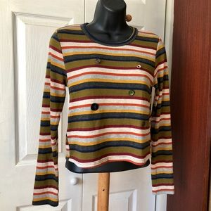 Caution to the Wind Women Striped Pullover Sweater